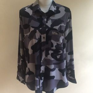 Tops - Women's button down camouflage blouse
